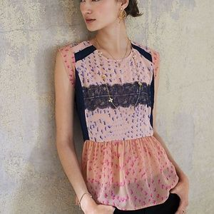 Anthropologie Maeve Evangeline Peplum Top